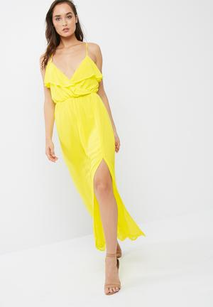 Missguided Ruffle Cami Maxi Dress Casual Yellow