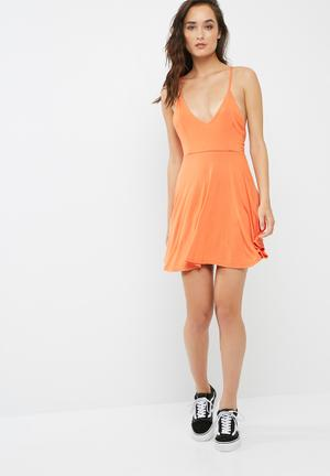 Missguided Strappy Back Skater Dress Casual Orange