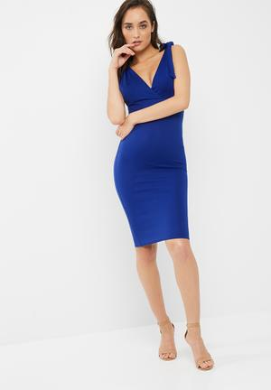 Missguided Bow Shoulder Plunge Midi Dress Occasion Blue