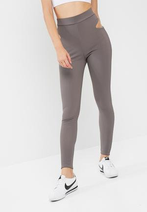 Missguided Active Cut Out Leggings Bottoms Grey