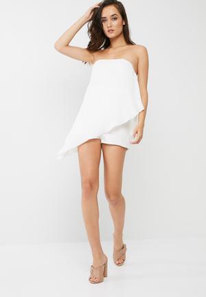 Missguided Chiffon Bandeau Asymmetric Playsuit White