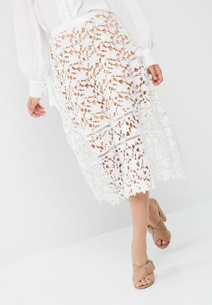 Missguided Premium Heavyweight Crochet Lace Full Midi Skirt White