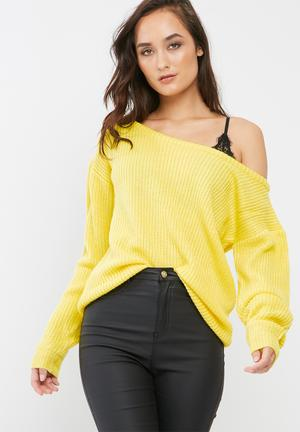Missguided Off Shoulder Knitted Jumper Knitwear Yellow