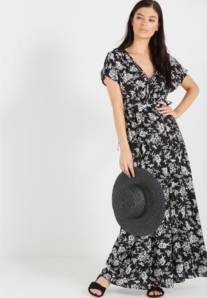 Cotton On Mira Kimono Hi Low Maxi Dress Casual Black