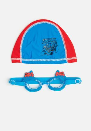 Character Fashion Spider-Man Swimming Goggles And Cap Accessories Red & Blue