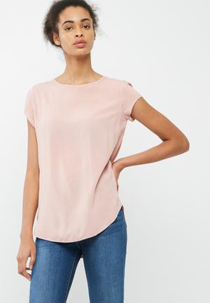 Dailyfriday Open Back Shell Top Blouses Pink