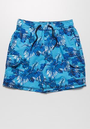 MINOTI Hibiscus Swimshorts Swimwear Blue
