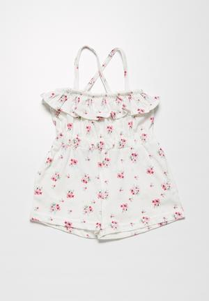 MINOTI Floral Playsuit Dresses & Skirts Cream