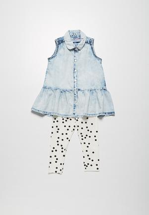 MINOTI Spotty Denim Shirt & Leggings Set Blue & White