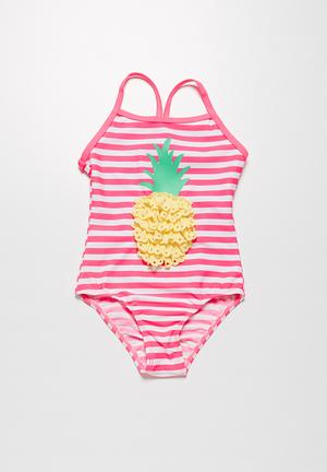 MINOTI Pineapple Swimsuit Swimwear Pink & Yellow