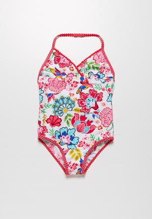 MINOTI Aqua Flower Swimsuit Swimwear Pink & Blue