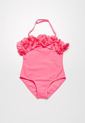 MINOTI Halter Neck Floral Swimsuit Swimwear Pink