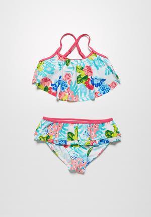 MINOTI Tropical Bikini Swimwear Pink & Light Blue