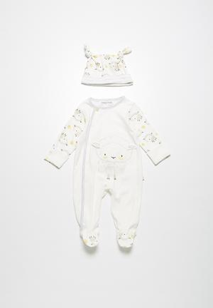 Babaluno Lamb Sleepsuit & Hat Set Cream