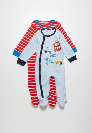 Babaluno Bus 2-pack Sleepsuit Blue & Red
