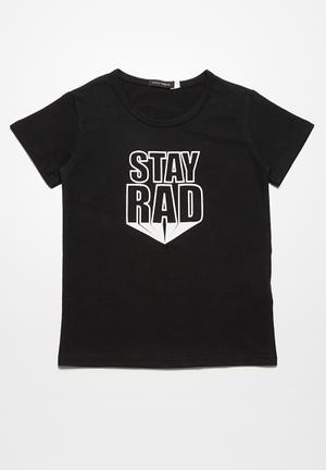 Basicthread Stay Rad Tee Tops Black