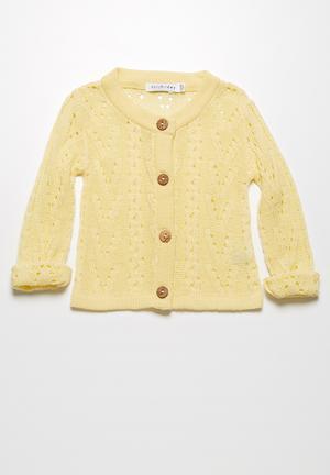 Dailyfriday Pointelle Summer Cardigan Jackets & Knitwear Pale Yellow