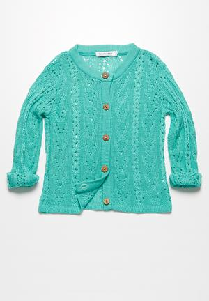 Dailyfriday Pointelle Summer Cardigan Jackets & Knitwear Green
