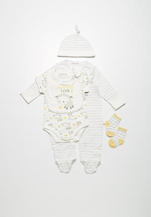 Babaluna Lamb 5-pieces Set Babygrows & Sleepsuits Cream