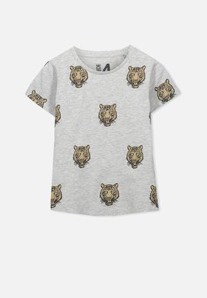 Cotton On Kids Bass Short Sleeve Tee Tops Grey Melange