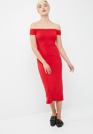 Dailyfriday Viscose Knit Off The Shoulder Midi Dress Casual Red