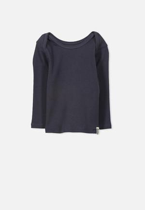Cotton On Baby Mini Ls Rib Tee Tops Charcoal