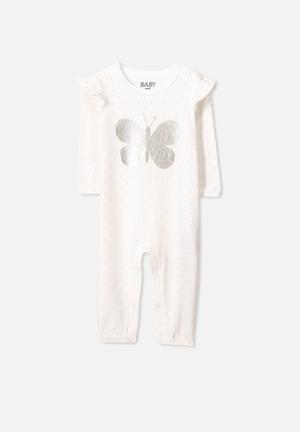 Cotton On Mini Ls Ruffle Snap Romper Babygrows & Sleepsuits White