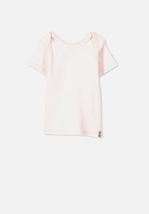 Cotton On Mini Ss Rib Tee Tops Pink