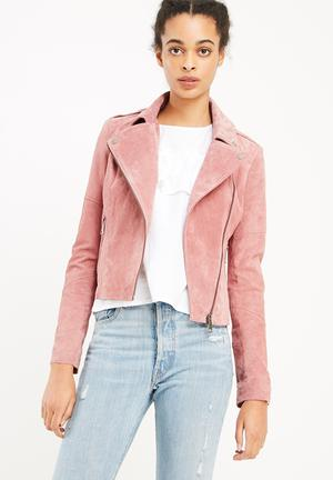 Pink leather jacket online