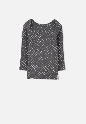 Cotton On Mini Ls Rib Tee Tops Grey & White