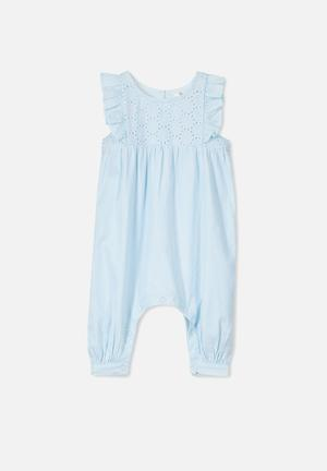 Cotton On Annabelle Broderie Romper Babygrows & Sleepsuits Blue