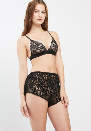Missguided Lace Shorts Sleepwear Black