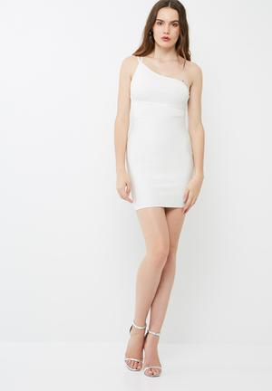 Missguided One Shoulder Bandage Mini Dress Occasion White