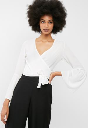 Dailyfriday Bell Sleeve Wrap Top Blouses White