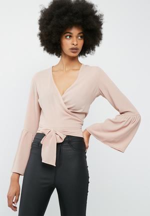 Dailyfriday Bell Sleeve Wrap Top Blouses Pink