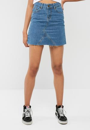 Dailyfriday Denim A Line Mini Skirt Blue