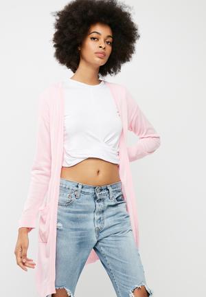 Dailyfriday Pocket Detail Open Cardi Knitwear Pink