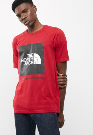 The North Face Raglan Red Box Tee T-Shirts Red & Black