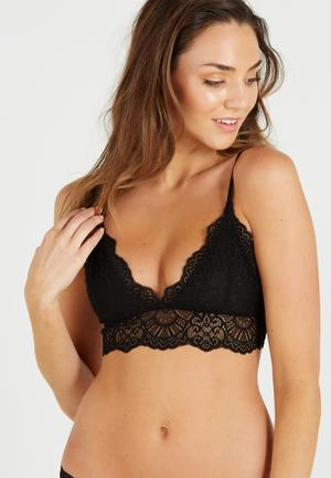 Cotton On Candice Long Line Bralette Black