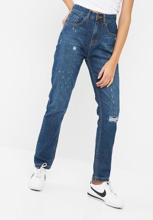 Dailyfriday Classic Mom Jeans Stone Wash Blue
