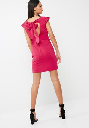 Dailyfriday Short Bodycon With Ruffle Cap Sleeve Formal Pink