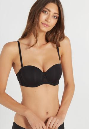 Cotton On Smooth Lace Contour Strapless Bra Black