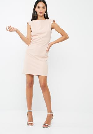 Dailyfriday Short Bodycon With Ruffle Cap Sleeve Formal Pastel Pink