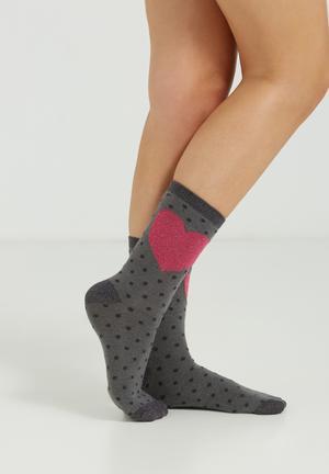Cotton On We Go Together Socks Grey