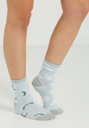 Cotton On We Go Together Socks Blue