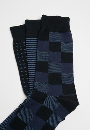 Ben Sherman 3 Pack Socks Navy & Black