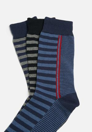 Ben Sherman 3 Pack Socks Navy, Red, Blue & Grey