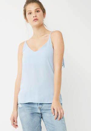Dailyfriday Woven V Neck Cami Light Blue