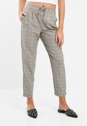 ONLY Sophie Check Pants Trousers Stone Grey