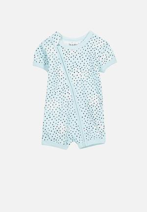 Cotton On Baby Mini SS Zip Through Romper Babygrows & Sleepsuits